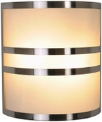 CONTEMPORARY WALL SCONCE FIXTURE, MAXIMUM TWO 60 WATT INCANDESCENT MEDIUM BASE BULBS, 10 IN., BRUSHED NICKEL WITH ACCENTS 617605