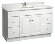 "DESIGN HOUSE® WYNDHAM BATHROOM VANITY CABINET, READY TO ASSEMBLE, 2 DOOR, 4 DRAWER, WHITE, 48X31-1/2X21"" 103511"