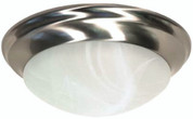 FLUSH MOUNT TWO LIGHT 14 IN. BRUSHED NICKEL,  ALABASTER GLASS, FLUORESCENT 102559