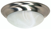 FLUSH MOUNT THREE LIGHT 17 IN.  BRUSHED NICKEL WITH ALABASTER GLASS, INCANDESCENT 102554