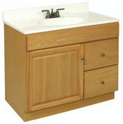 "DESIGN HOUSE® CLAREMONT BATHROOM VANITY CABINET, READY TO ASSEMBLE, 1 DOOR, 2 DRAWER, HONEY OAK, 36X31-1/2X21-1/2"" 103510"
