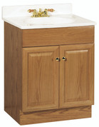 """RSI HOME PRODUCTS RICHMOND BATHROOM VANITY CABINET WITH TOP, FULLY ASSEMBLED, 2 DOOR, OAK FINISH, 24X31X18"""" 101750"""