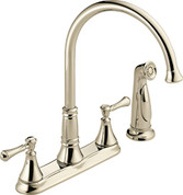 Delta  Delta Cassidy Two Handle Kitchen Faucet with Spray Polished Nickel 2497LF-PN