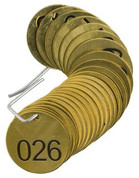 BRADY 23201 SET BRASS VALVE TAGS BLANK 1-1/2^ DIA NUMBERED 26-50 BRADY CORPORATION SIGNMARK DIVISION 119374 119374