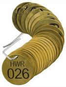 BRADY 23537 SET BRASS VALVE TAGS HWR 1-1/2^ DIA NUMBERED 26-50 BRADY CORPORATION SIGNMARK DIVISION 56303 56303