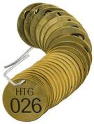 BRADY 23269 SET BRASS VALVE TAGS HTG 1-1/2^ DIA NUMBERED 26-50 BRADY CORPORATION SIGNMARK DIVISION 134765 134765