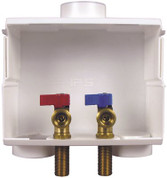 "IPS CORPORATION 531203 Water-Tite Du-All Dual Drain Washing Machine Outlet Box with Brass Qtr-turn Valves, Installed, 1/2"" Sweat Conx"