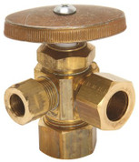 3-WAY DUAL ANGLE STOP VALVE 1/2 IN. NOMINAL COMP X 1/2 IN. OD X 3/8 IN. COMP RIGHT ROUGH BRASS LEAD FREE 134245