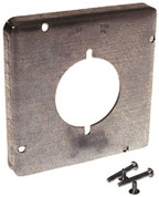 HUBBELL 662145 Hubbell-Raco 1/2-Inch Raised Square Cover with 2.14-Inch Diameter 30-50 Amp Receptacle, 4-11/16-Inch