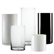 "Glass Cylinders 5"" Diameter - Multiple color/height options available"