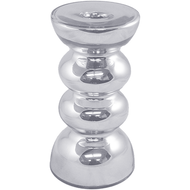 "Viz Floral 4""x 6"" Silver Candle Holder"
