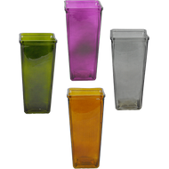 "Viz Floral Glass Vase 4.375"" x 4.375"" x 9"" Assorted Colors"