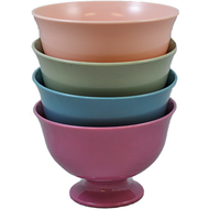 "Viz Floral Fruit Bowl 9 1/2"" Pastel assortment of colors"