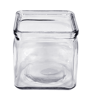 Glass Ribbed Cube Clear