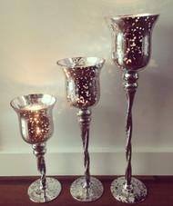 Twisted Mercury Candle Holder Set