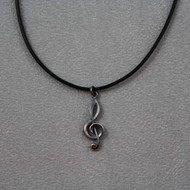 Dark sterling clef on adjustable black leather cord