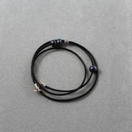 Kinetic Wrap Bracelet, Black Leather & Beads