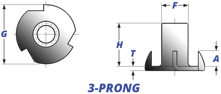 3-Prong T-Nuts, Straight Barrel Drawing