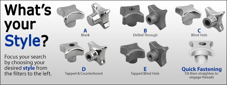 Palm Grip Knob Styles - Stainless Steel, Aluminum & Cast Iron