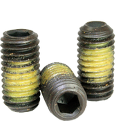 "7/16""-20x3/8"" Socket Set Screws Cup Point Fine Alloy w/ Nylon-Patch Thermal Black Oxide (500/Bulk Pkg.)"