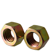 "1 3/8""-6 Finished Hex Nuts, Grade 8, Coarse, Medium Carbon Steel, Zinc-Yellow Cr6 (65/Bulk Pkg.)"