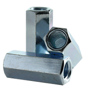 "3/8""-16,1/4""-20 Hex Coupling Nut Reducer, A563, Grade A, Zinc Cr+3 (500/Bulk Pkg.)"