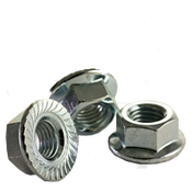 M12-1.75 Class 8 Hex Serrated Flange Nut, Coarse, Zinc Cr+3, DIN 6923/ISO 4161 (600/Bulk Pkg.)