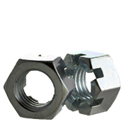 """7/8""""-14 Slotted Finished Hex Nuts Fine Zinc Cr+3 (15/Pkg.)"""