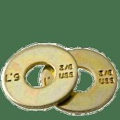 """3/8"""" L-9 USS Tension Flat Washer Alloy Zinc-Yellow Cr+3 (U.S.A.) (100/Pkg.)"""