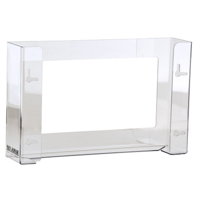 Clear plexi-glass wall-mount style disposable glove dispenser hold three boxes.