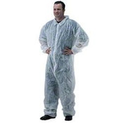 Disposable Coveralls with Collar, 2XL, White (25/Case) Spun Bond Polypropylene