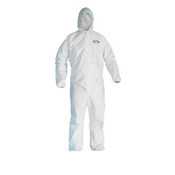 KLEENGUARD A40 Elastic-Cuff & Ankle Hooded Coveralls, White, Large (25/Case)