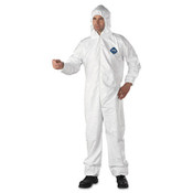 Safety coveralls with protective hood and elastic at wrists and ankles.