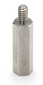 "1/2"" OD x 1-1/4"" L x 10-32 Thread Aluminum Male/Female Hex Standoff, Plain (100/Bulk Pkg.)"