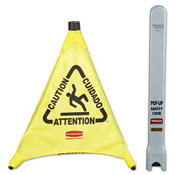 "Multilingual 3-Sided ""Caution"" Pop-Up Safety Cone, Fabric, 21 x 21 x 20 (Qty. 1)"