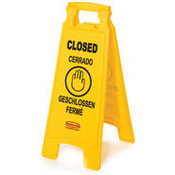 "Multilingual ""Closed"" Sign, 2-Sided Plastic, 11"" x 26"", Yellow (Qty. 1)"