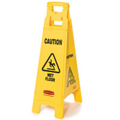 """Caution Wet Floor"" Floor Sign, 4-Sided, Plastic, 12"" x 16"" x 38"", Yellow (Qty. 1)"