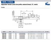 Kipp M10x50 Adjustable Tension Levers, Low Profile, External Thread, 15 Degrees, Size 2 (1/Pkg.), K0114.2102X50
