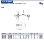 Kipp M6x20 Cam Lever, Adjustable, External Thread, Stainless Steel, Aluminum Handle, Size 1 (1/Pkg.), K0006.1511106X20