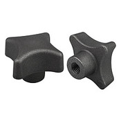 Kipp 6 mm Hole Diameter, 32 mm Diameter, Palm Grip Knob, Gray Cast Iron, DIN 6335, Style C (1/Pkg.), K0147.306