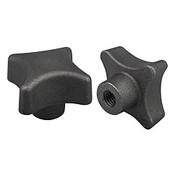 Kipp 8 mm Hole Diameter, 40 mm Diameter, Palm Grip Knob, Gray Cast Iron, DIN 6335, Style C (1/Pkg.), K0147.308