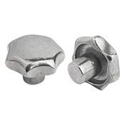 Kipp 40 mm Diameter, Star Grip Knob, Aluminum, Tumbled Bright, Style A (1/Pkg.), K0149.14008