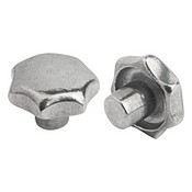 Kipp 50 mm Diameter, Star Grip Knob, Aluminum, Tumbled Bright, Style A (1/Pkg.), K0149.15010