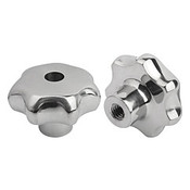 """Kipp 1/2""""-13 Inside Diameter, 65 mm Diameter, Star Grip Knob, Stainless Steel, Style D (1/Pkg.), K0150.463A52"""