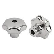 """Kipp .500"""" Inside Diameter, 63 mm Diameter, Star Grip Knob, Stainless Steel, Style B (1/Pkg.), K0150.263CP2"""