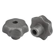 "Kipp .375"" Inside Diameter 50 mm Diameter, Star Grip Knob, Gray Cast Iron, DIN 6336, Style B (1/Pkg.), K0151.2CO"