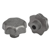 Kipp 6 mm Inside Diameter 32 mm Diameter, Star Grip Knob, Gray Cast Iron, DIN 6336, Style C (1/Pkg.), K0151.306