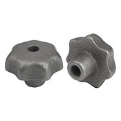 Kipp 6 mm Inside Diameter 32 mm Diameter, Star Grip Knob, Gray Cast Iron, DIN 6336, Style B (1/Pkg.), K0151.206