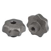 "Kipp 3/8""-16 Inside Diameter 50 mm Diameter, Star Grip Knob, Gray Cast Iron, DIN 6336, Style D (1/Pkg.), K0151.4A4"