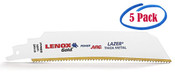 """Lenox Gold 6 x 1 x .042 Curved Reciprocating Saw Blades for Extreme Metal Cutting, 6"""", 8 TPI (5/Pkg.)"""